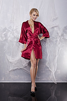Домашний комплект атласный: халат, шорты, майка размер XXXL (50-52) шелк, бордо