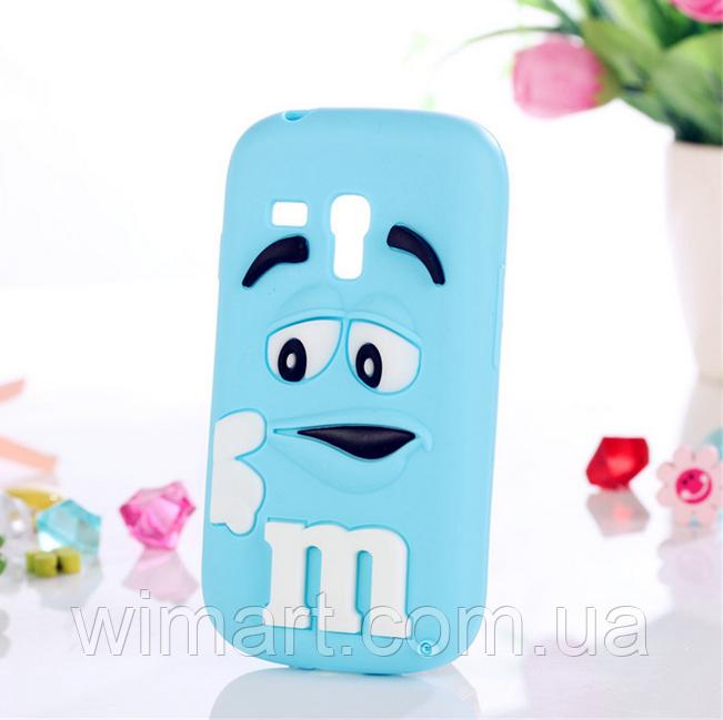 Чехол силиконовый M&M's для Samsung Galaxy S3 mini I8190 голубой