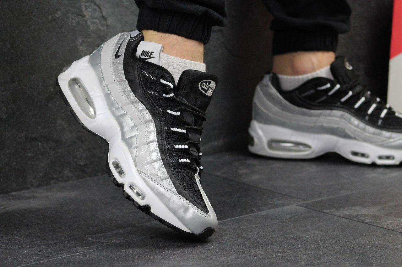 Кроссовки мужские Nike 95 (серые с черным), ТОП-реплика