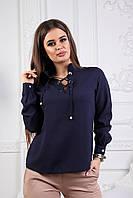 """Шифоновая женская блуза """"Direlle"""" с длинными рукавами и шнуровкой на груди (2 цвета)"""