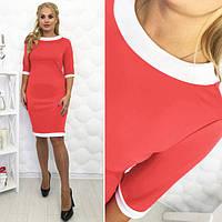 Платье-футляр классическое с манжетом большие размеры коралл