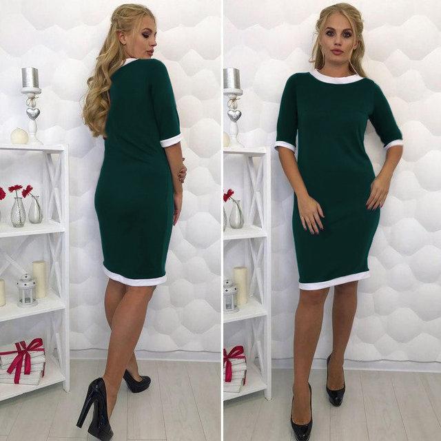 Платье-футляр классическое с манжетом большие размеры темно-зеленый
