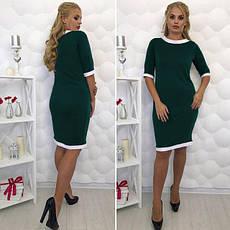 Платье-футляр классическое с манжетом большие размеры коралл, фото 3