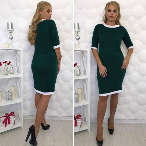 Платье-футляр классическое с манжетом большие размеры темно-зеленый, фото 2