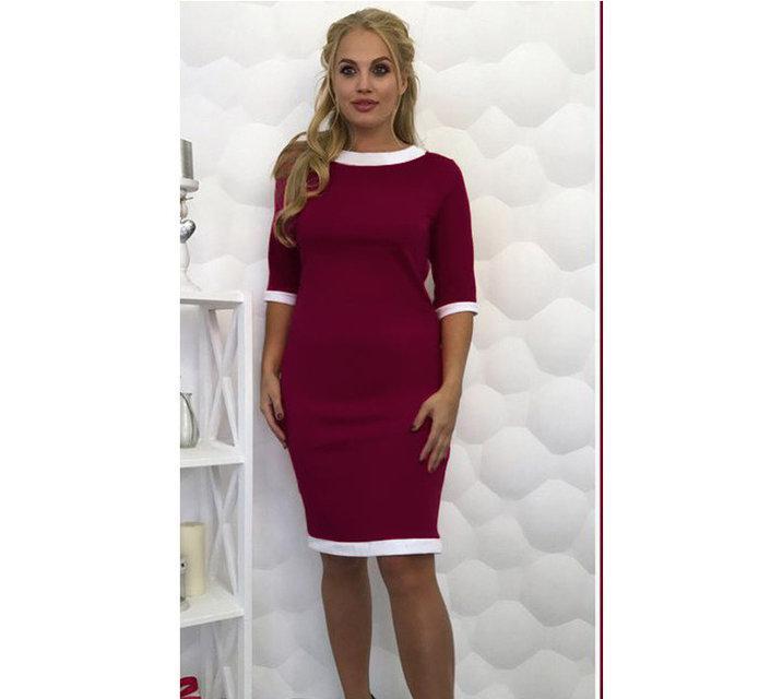 Платье-футляр классическое с манжетом большие размеры бордовое