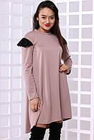 Стильное женское  асимметричное платье свободного кроя с длинными рукавами
