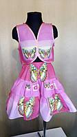 Летний комплект на девочку 8-10лет из натуральной ткани розовый, фото 1