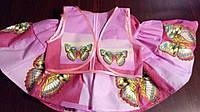 Летний комплект на девочку 8-10лет из натуральной ткани розовый