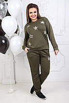 """Женский трикотажный спортивный костюм """"STARS"""" с блестками (большие размеры), фото 3"""