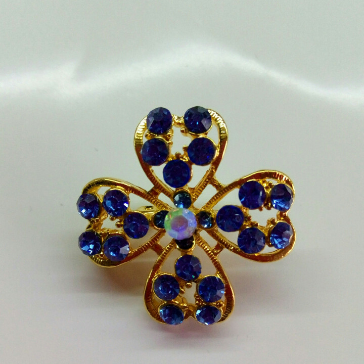 Брошь Цветок синий/ цвет золото