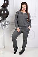 """Трикотажный спортивный женский костюм """"Ollis"""" со шнуровкой и карманами (большие размеры)"""