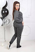"""Трикотажный спортивный женский костюм """"Ollis"""" со шнуровкой и карманами (большие размеры), фото 3"""