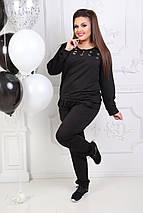 """Трикотажный спортивный женский костюм """"Ollis"""" со шнуровкой и карманами (большие размеры), фото 2"""