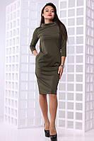 Стильное женское  платье до колен с карманами, фото 1