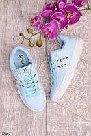Женские кеды кроссовки голубого цвета эко-кожа