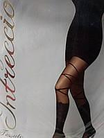 Колготки с рисунком чулок с бантом и лентой коричневые 40 Ден, итальянские размер 4