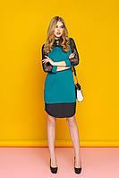 """Красивое женское вечернее платье-рубашка с кружевными рукавами и круглым подолом """"А-74"""" (зелёный)"""