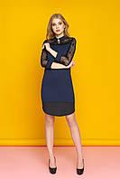 """Красивое женское вечернее платье-рубашка с кружевными рукавами и круглым подолом """"А-74"""" (синий)"""