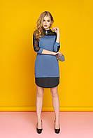 """Красивое женское вечернее платье-рубашка с кружевными рукавами и круглым подолом """"А-74"""" (джинс)"""