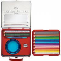 Цветные акварельные карандаши 18 цветов JUMBO GRIP МЕТАЛ.ЧЕМОДАНЧИК+АКСЕССУАРЫ
