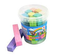 Крейда кольорова (мел цветной) МАКСІ, 10 шт., 10 різних кольорів, 19х19х100 мм, поліпропіленова баночка