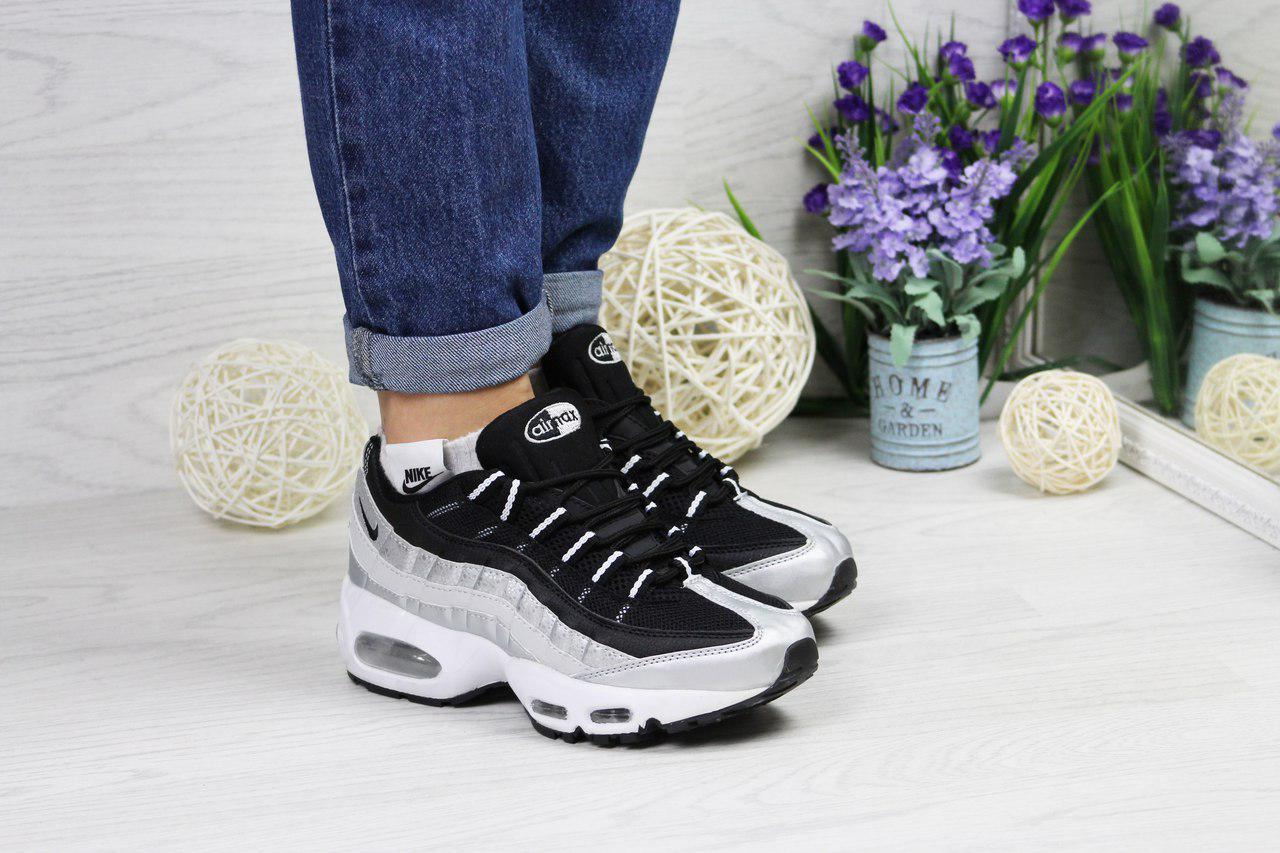 Кросівки жіночі Nike 95 (сірі з чорним), ТОП-репліка