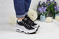 Кросівки жіночі Nike 95 (сірі з чорним), ТОП-репліка, фото 1