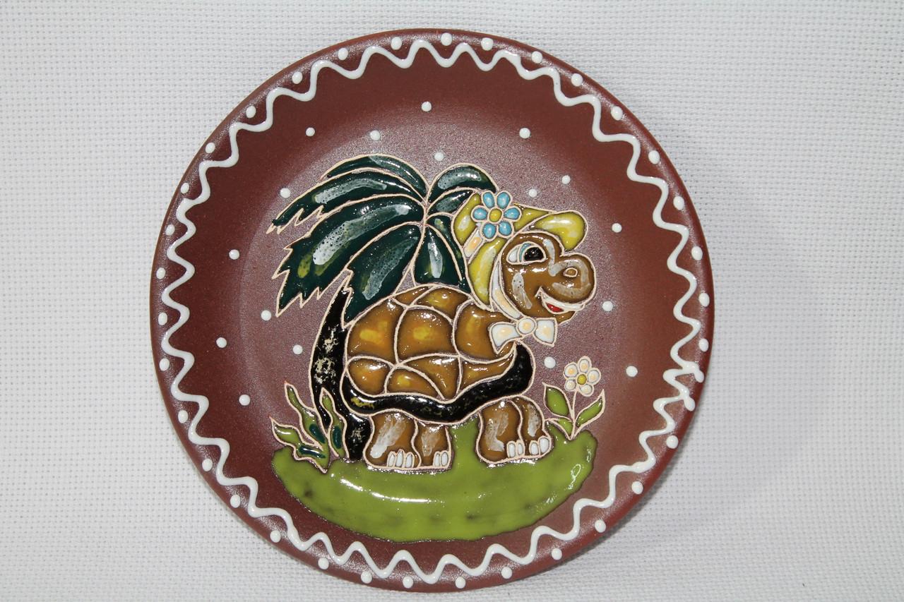 """Блюдце керамическое под чашку """"Черепаха на острове"""""""