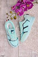 Женские кроссовки голубого цвета эко-замша+ текстиль