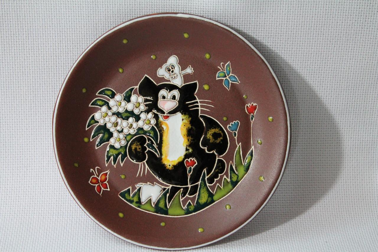 """Блюдце керамическое под чашку """"Кот и мышь с букетом"""""""