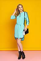 """Женское стильное прямое платье с поясом и красивой отделкой """"Лависта"""" (минт)"""