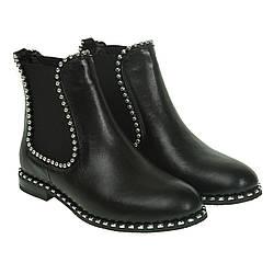 Ботинки женские Attico (черные, кожаные, стильные, актуальные)