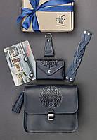 "Женский набор кожаных аксессуаров ""Лондон"" (сумка, визитница (кардхолдер), браслет, брелок, открытка)"