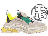 Женские кроссовки Balenciaga Triple S Trainers Beige/Yellow/Green