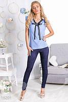 Стильная блузка с бантиком. Голубой