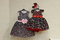 Изысканное роскошное платье на девочку с пышным низом и бантом на поясе, фото 1