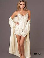 Пижама женская майка+шорты+халат 349 ЕМ