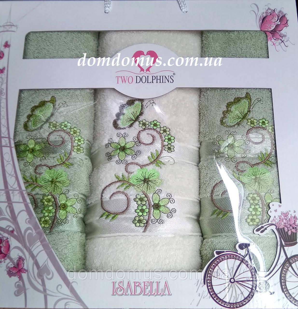 """Подарунковий набір рушників """"Isabella"""" (баня+2 особи) TWO DOLPHINS, Туреччина рожевий 0171"""