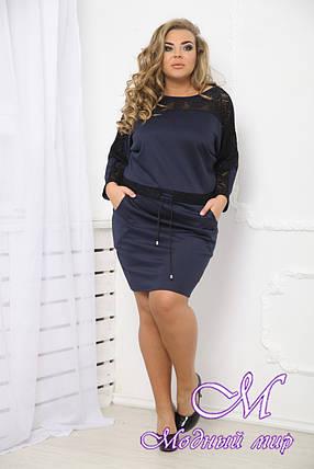 Женское темно-синее платье больших размеров (р. 48-90) арт. Шторм, фото 2