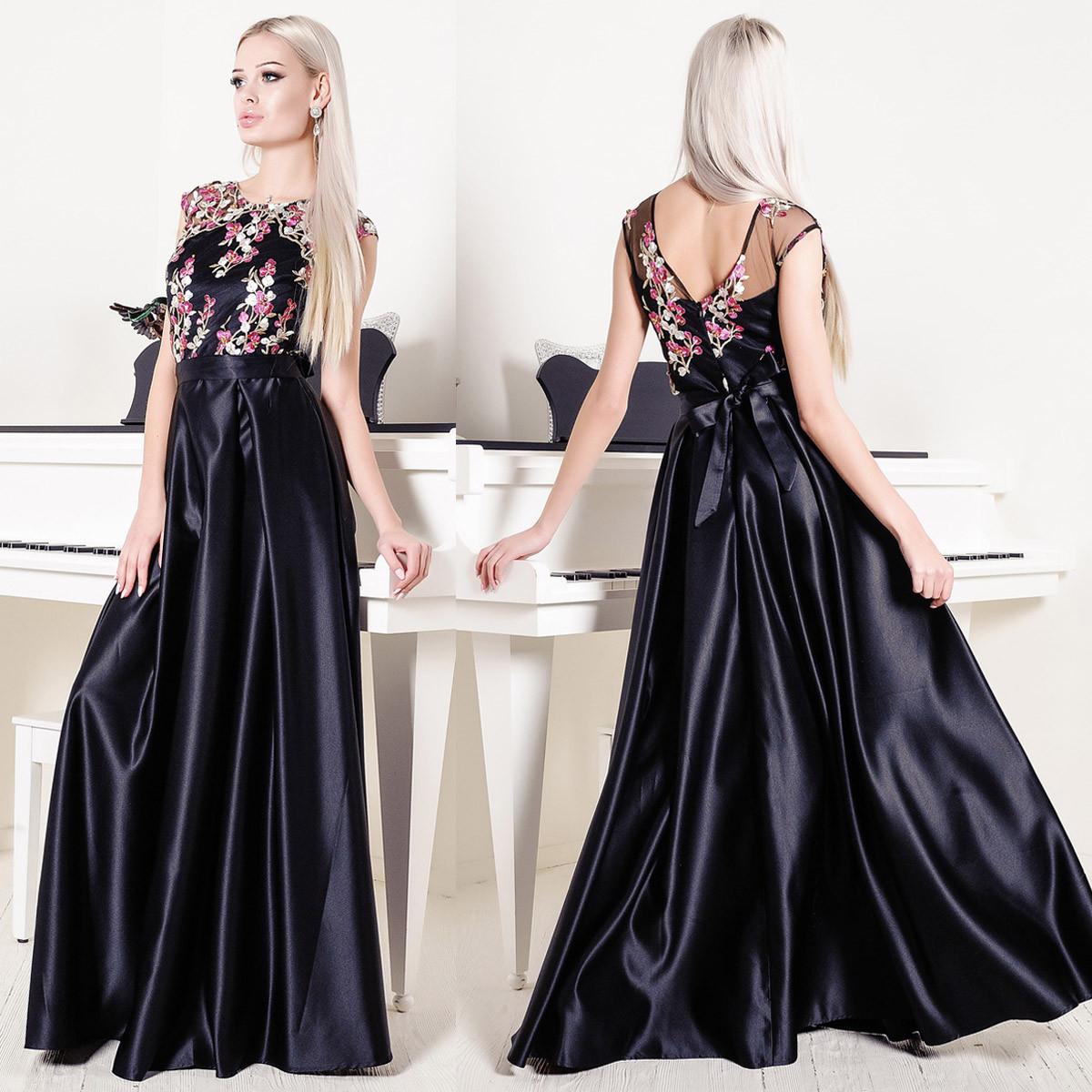 """Платье вечернее черное в пол атласное с вышивкой размер L """"Венеция"""""""