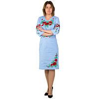 Вышитое льняное платье Соломия с красными маками голубого цвета