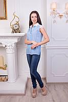 Стильная женская блуза с гипюром. Голубой, фото 1