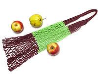 Авоська - полосатая - вишнево-зелёная