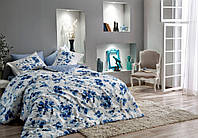 Семейное постельное белье  TAC Didgital Satin  Farida V01 синий