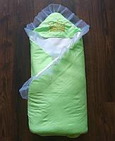 """Конверт для новорожденных на выписку и в коляску """"Корона"""" салатовый"""