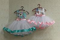 Милое платье на девочку верх цветочный принт с фатиновой пышной юбкой