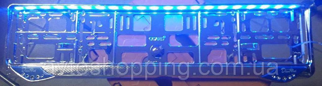 Рамка під номер з Синьою підсвіткою, Guard Diamond, Рамка ХРОМ LED Підсвітка номера