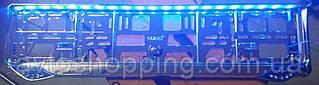 Рамка под номер с подсветкой Синей, Guard Diamond, Рамка ХРОМ LED, Подсветка номера