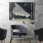 """Карта Pinzel """"Украинские Карпаты"""" Black со скретч покрытием"""