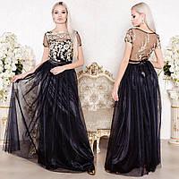 """Черное вечернее, выпускное длинное пышное платье """"Фортуна"""""""
